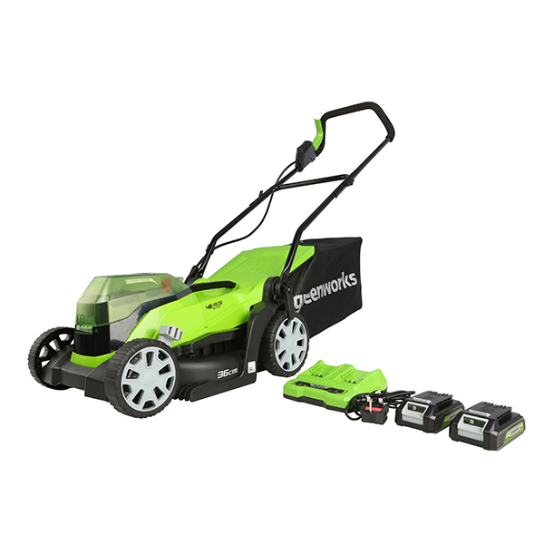 Greenworks 48V Cordless 36cm Lawnmower 2 x 24v 2.0ah Batteries & Twin Charger No Colour