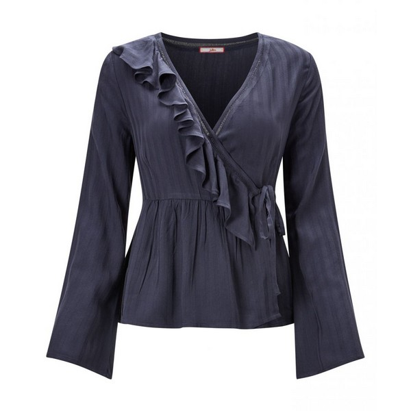 Joe Browns Satin Stripe Ruffle Blouse Navy
