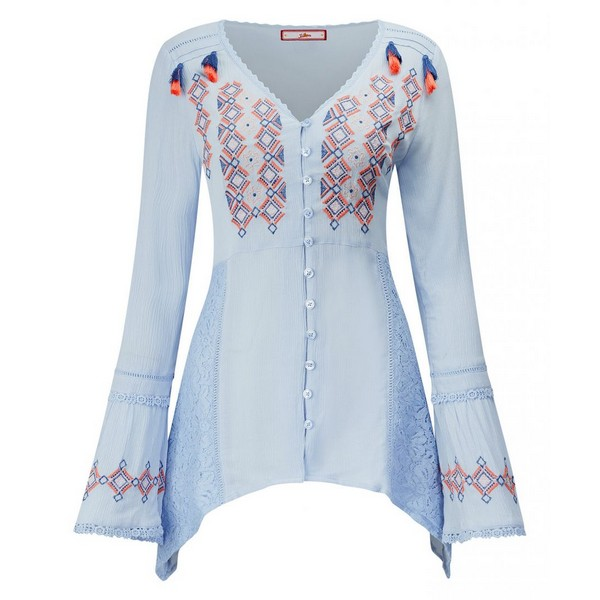 Joe Browns Crinkle Embroidered Blouse Baby Blue
