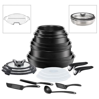 Tefal Ingenio 20pc Non-Stick Pan Set Black with Grill and Steamer Inserts - Suitable for all Hobs