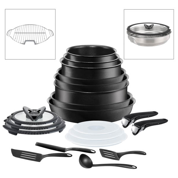 Tefal Ingenio 20pc Non-Stick Pan Set Black with Grill and Steamer Inserts - Suitable for all Hobs No Colour