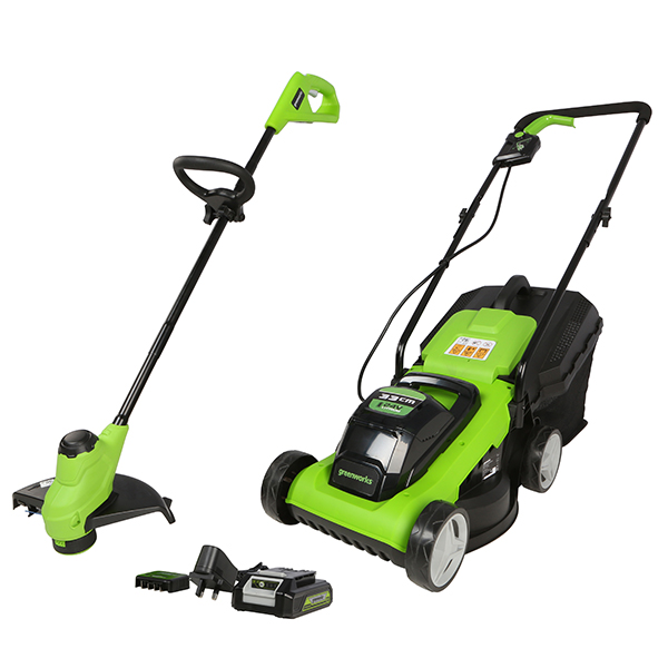 Greenworks 24v 33cm Lawnmower and 25cm Line Trimmer 1 x 2ah and Charger No Colour