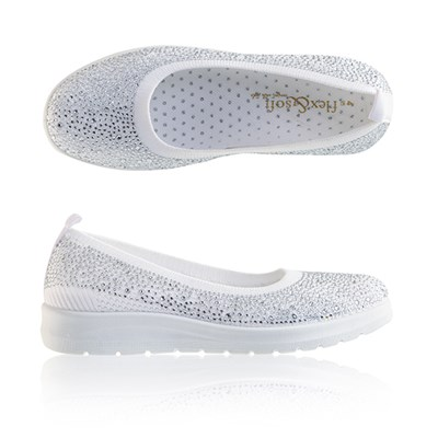 Flex and Soft Diamante Slip On Shoe