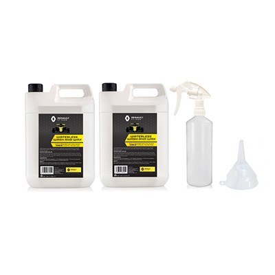 Renault Waterless Wash and Wax 2 x 5L, 1 x 1L Empty Bottle with Trigger and Funnel