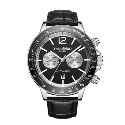 Swan and Edgar Gent�s Ltd Edt Speedometer Automatic Watch with Genuine Leather Strap & Gift