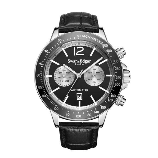Swan and Edgar Gent's Ltd Edt Speedometer Automatic Watch with Genuine Leather Strap & Gift Black/Silver
