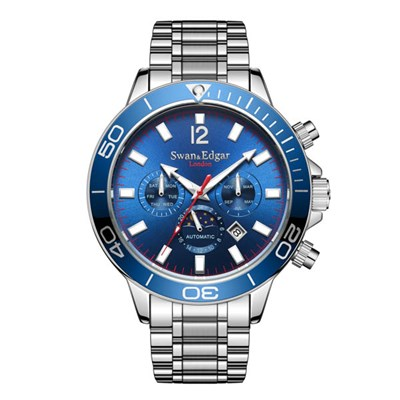 Swan and Edgar Gent's Ltd Edt Blomfield Sports Calendar Automatic Watch with Stainless Steel Bracelet