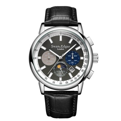 Swan and Edgar Gent's Ltd Edt Synergy Automatic Steel Watch with Genuine Leather Strap