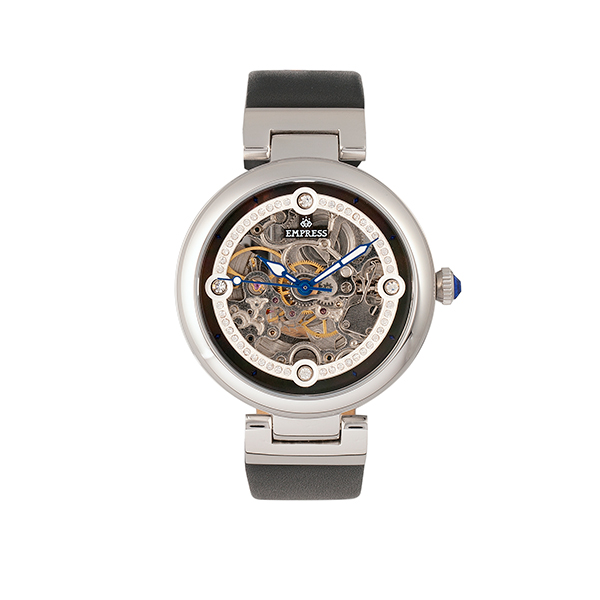 Empress Ladies' Adelaide Automatic Watch with Genuine Leather Strap Black/Silver