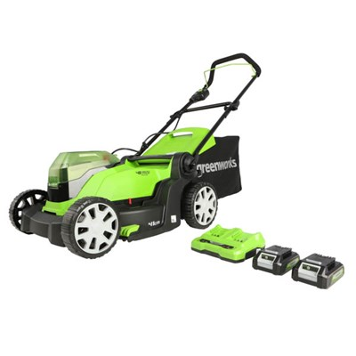 Greenworks 48V 41cm Cordless Lawnmower with 2 x 24V 2Ah Batteries & 2A Twin Port Charger