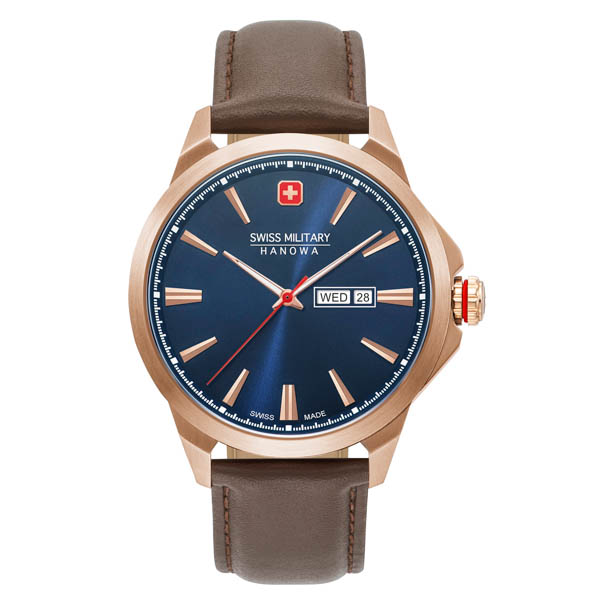 Swiss Military by Hanowa Gents Day Date Classic Watch with Genuine Leather Strap Blue