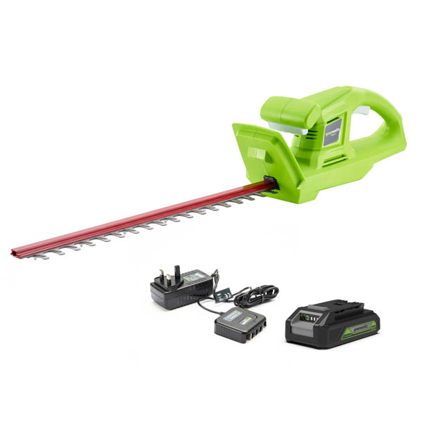 Greenworks 24V Hedge Trimmer 51cm with 2Ah Battery and Charger No Colour