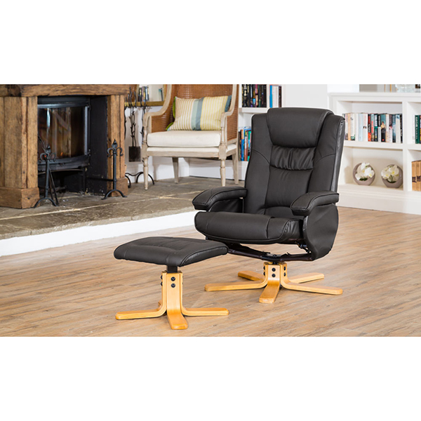 The Furniture Collection Durham Swivel Heat and Massage Bonded Leather Recliner and Stool Black