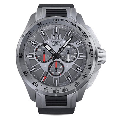 Aviator Gents' Swiss Ltd Ed MIG 35 Quartz Chronograph Watch with Silicone Strap
