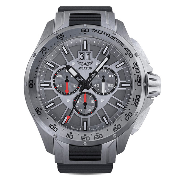 Aviator Gents' Swiss Ltd Ed MIG 35 Quartz Chronograph Watch with Silicone Strap Silver