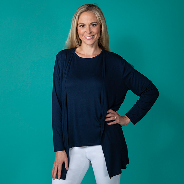 Emelia Viscose Drop Pocket Cardigan Navy