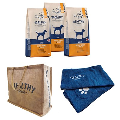 Healthy Paws Adult Dog Kit - Contains 3 x 2kg Dog Food, Bag, Towel and Feeding Bin