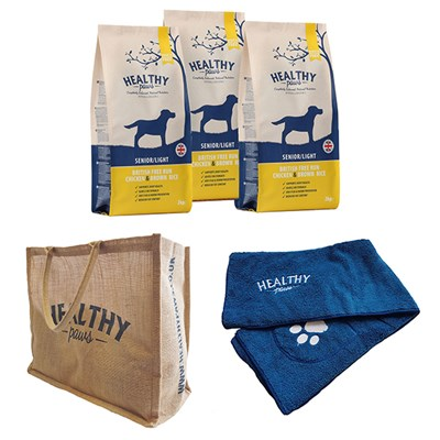 Healthy Paws Senior Dog Kit - Contains 3 x 2kg Dog Food, Bag, Towel and Feeding Bin