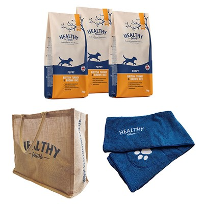 Healthy Paws Puppy Dog Kit - Contains 3 x 2kg Dog Food, Bag, Towel and Feeding Bin
