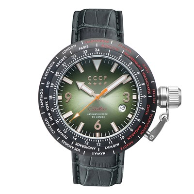 CCCP Gent's Russia Timezone Automatic Watch with Genuine Leather Strap