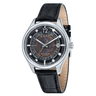 CCCP Gents Sputnik-2 Automatic Stainless Steel Watch with Genuine Leather Strap