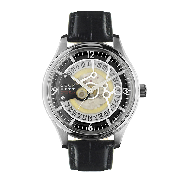 CCCP Gents Sputnik-2 Automatic Watch with Genuine Leather Strap Silver