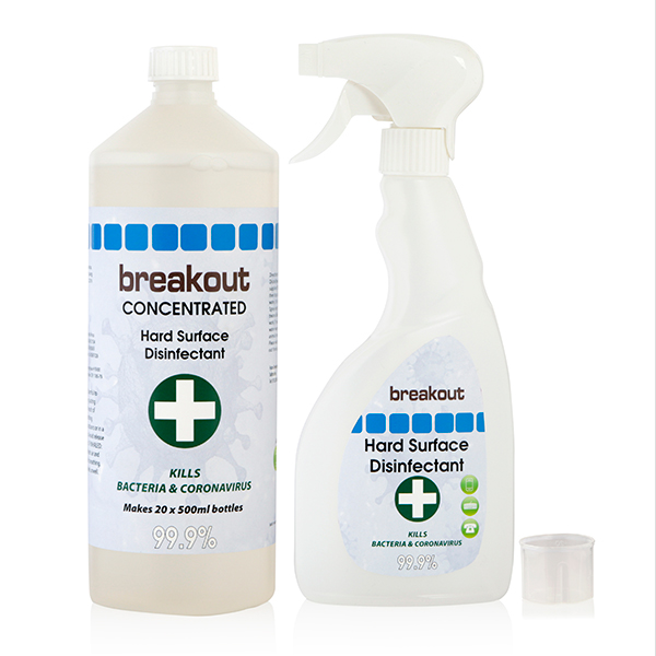 Breakout Hard Surface Disinfectant with Trigger Spray 1L No Colour