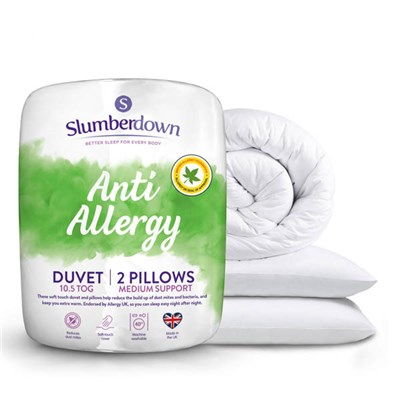 Slumberdown Anti-Allergy 10.5 Tog Duvet (Double) with 2 Medium Pillows