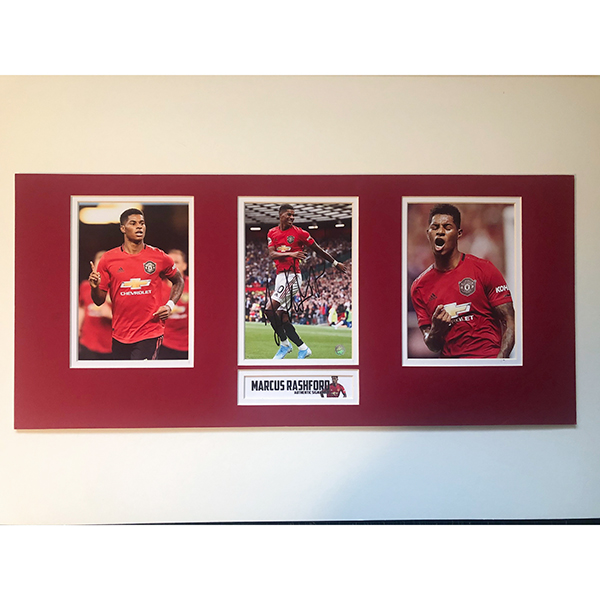 Manchester United Framed Triple Photo Personally Signed by Marcus Rashford No Colour