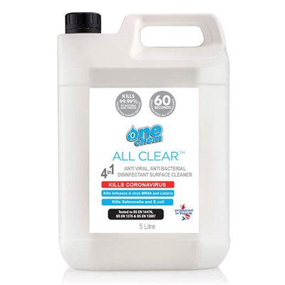 One Chem All Clear Anti-Viral, Anti-Bacterial Disinfectant Surface Cleaner 5L