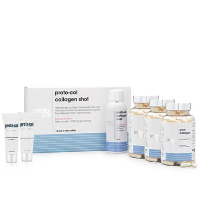 Proto-col 100 Day of Collagen (3 x 120 Caps, Shots), Face Gel 20ml, Microderm 20ml