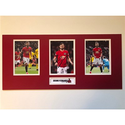 Bruno Fernandes Personally Signed Triple Photo Montage Display