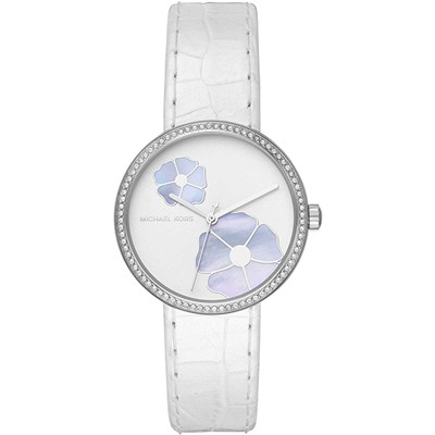 Michael Kors Ladies White Floral Watch with Genuine Leather Strap