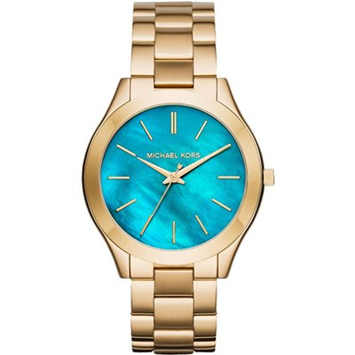 Michael Kors Ladies Blue Mother of Pearl Watch with Stainless Steel Bracelet