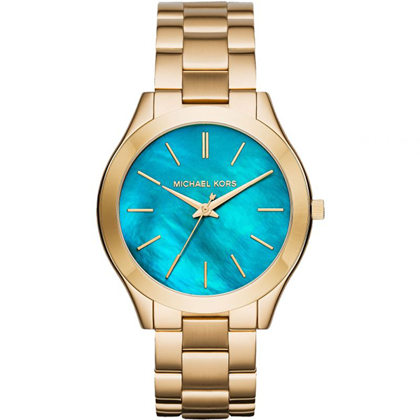 Michael Kors Ladies Blue Mother of Pearl Watch with Stainless Steel Bracelet No Colour