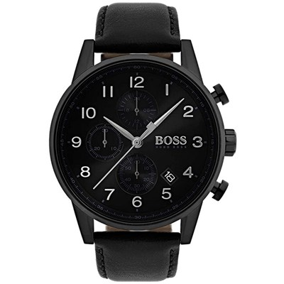 Hugo Boss Gents Navigator Chronograph Watch with Genuine Leather Strap