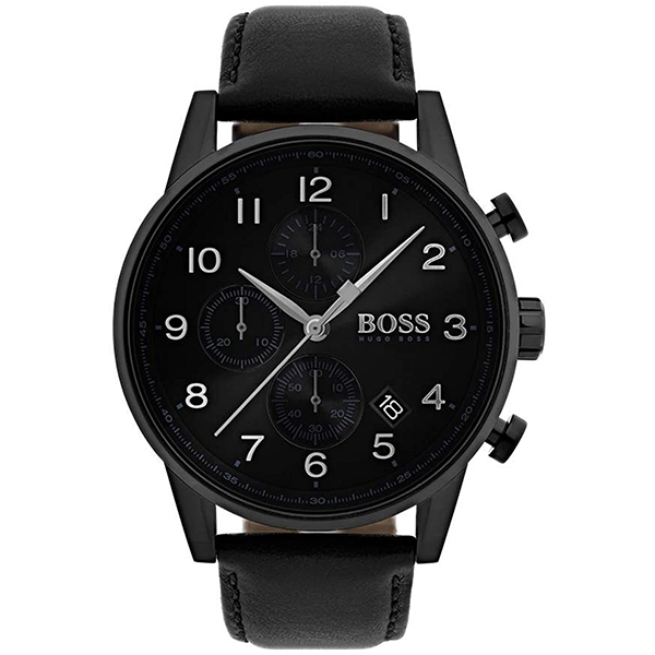 Hugo Boss Gents Navigator Chronograph Watch with Genuine Leather Strap No Colour