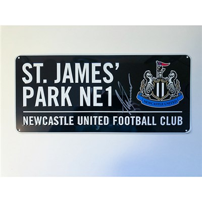 Newcastle United Road Sign Personally Signed by Alan Shearer