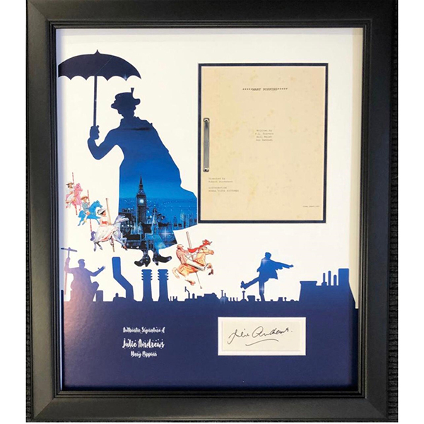Mary Poppins Framed Film Script Personally Signed by Julie Andrews No Colour