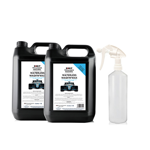 RoKIT Williams Waterless Wash & Wax 5L Bottle (Twin Pack) with Empty Bottle and Trigger No Colour
