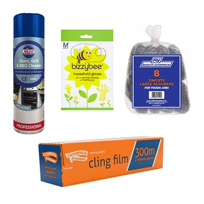 Cleaning Bundle - Gloves, Scourers, Oven Cleaner and Cling Film