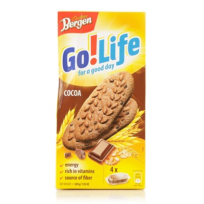 Bergen Go! Life Biscuits Cocoa 200G x 15 Packs