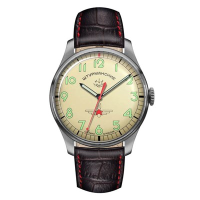 Sturmanskie Gagarin Commemorative Ltd Ed Mechanical Watch with Genuine Leather Strap