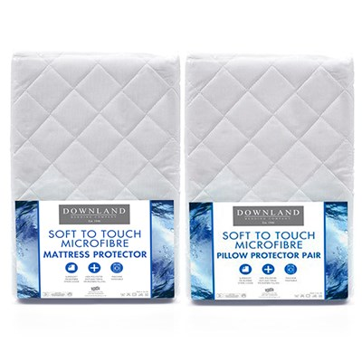 Downland Soft To Touch Satin Stripe Anti-Bacterial Single Mattress Protector & Pillow Protector (Pair)