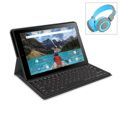 RCA Gemini 10 Pro 2 in 1 Tablet with 10.1inch Display and 32GB Storage with Pump Bluetooth Headphones