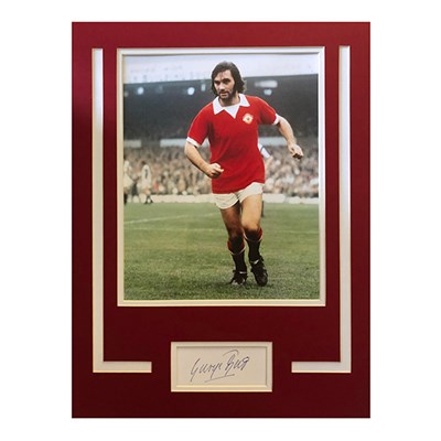 George Best Personally Signed Mounted Photo & Signature Display