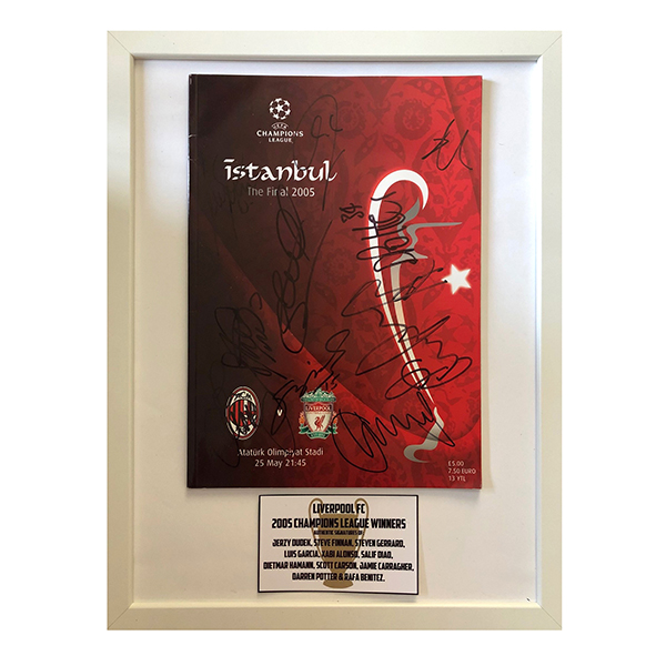 Liverpool FC Framed European Cup Multi Signed Final Programme No Colour