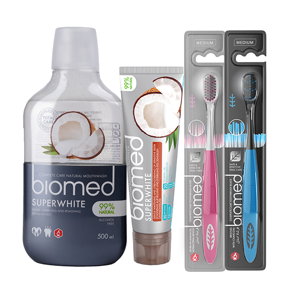 Biomed Oral Hygiene Bundle - Toothpaste x 2, Toothbrush x 2 and Mouthwash