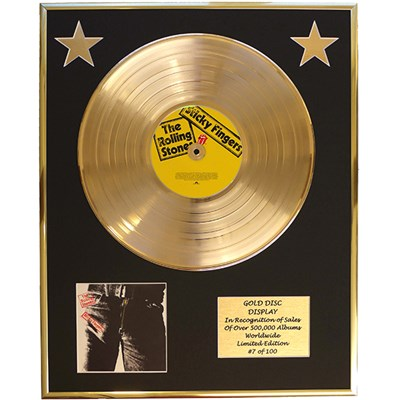 Rolling Stones Sticky Fingers Framed & Mounted Large CD Gold Disc Limited Edition 100 Only