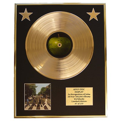 The Beatles Abbey Road Framed & Mounted Large CD Gold Disc Limited Edition of 100 Only